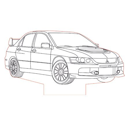 Mitsubishi Evo 9 3d Illusion Lamp Plan Vector File Cool Car