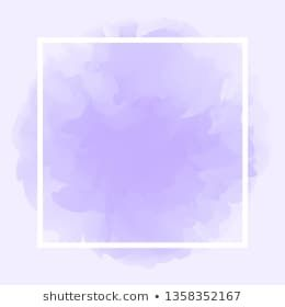 White Line Frame On Purple Watercolor Background Style For Copy