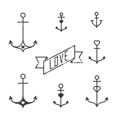 Set of seven lined anchors in tattoo style vector  by MsMoloko on VectorStock®