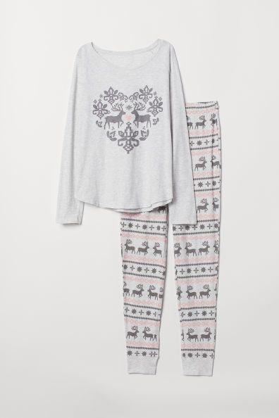 Natsæt med top og bukser in 2019 | H&M | Pajama top, Tunic