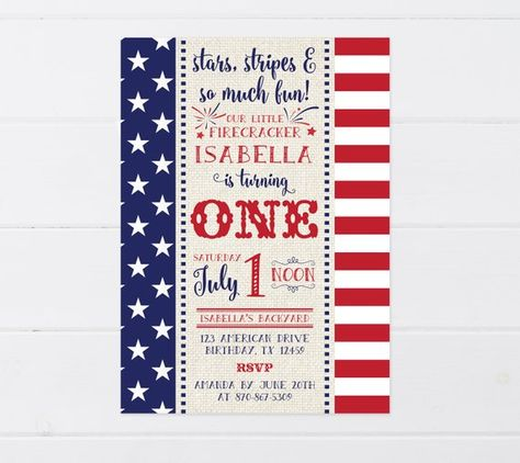 4th Of July Birthday Invitation Party First Labor Day I