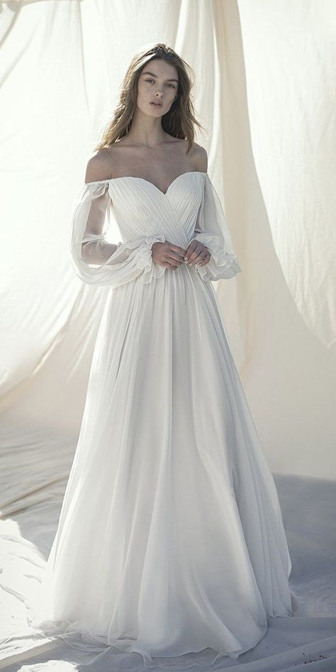 21 Best Of Greek Wedding Dresses For Glamorous Bride ❤  greek wedding dresses a line off the shoulder sweetheart neckline simple alonlivne #weddingforward #wedding #bride