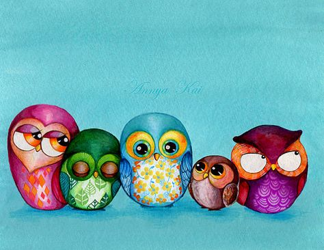 Fabric Owl Family - Painting Print by Annya Kai