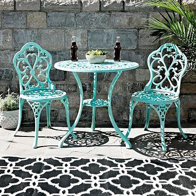 Ivory Floral Cast Iron Bistro Set Cast Iron Garden Furniture