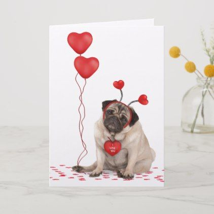 """Blank Card ideal Mothers Day etc. 4/""""x6/"""" Valentine Card Pug Puppy Dog"""