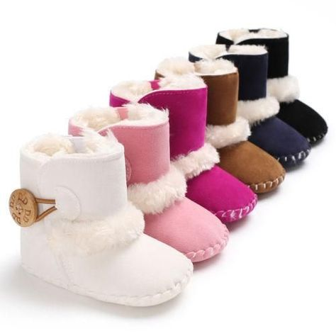 d17d80f78b5a Casual Newborn Infant Baby Girls Boys Ankle Snow Boots Non-slip Winter Half Boots  Soft Bottom Keep Warm Fur Plush Insole Shoes