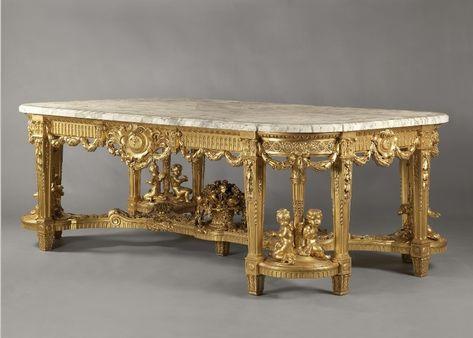 Mesa comedor madera tallada dorada y tapa marmol | Muebles ...