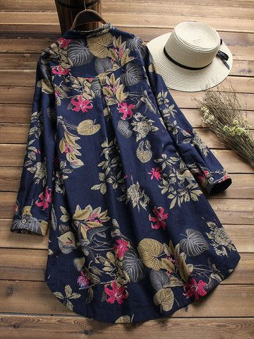 Women Short Sleeve Vintage Floral Print Ethnic Style Casual Mini Dress Long Tops