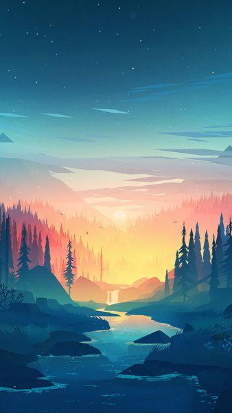 Nature Sunrise Digital Art River Landscape Mountains Trees 8k 7680x4320 38402x16 Iphone Wallpaper Landscape Minimalist Wallpaper Phone Nature Wallpaper