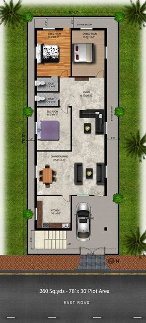 Download Free Plans 260 Sq Yds 30x78 Sq Ft East Face House 3bhk Elevation View House Drawings With Plan View 2bhk House Plan Duplex House Plans My House Plans