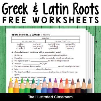 Free Greek And Latin Roots Worksheets Latin Roots Teaching Prefixes Greek Latin Roots Word roots worksheets