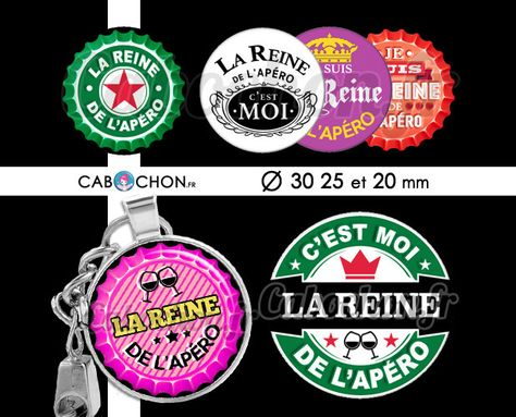 La Reine de l'Apéro ☆ 45 Images Digitales RONDES 30 25 et 20 mm biere vin capsule Page cabochons decapsuleurs heineken whisky corona bieres : Images digitales pour bijoux par cabochon-fr