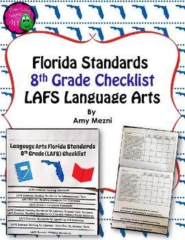 Florida Standards LAFS Language Arts 8th Grade Checklist Layered Flap Book