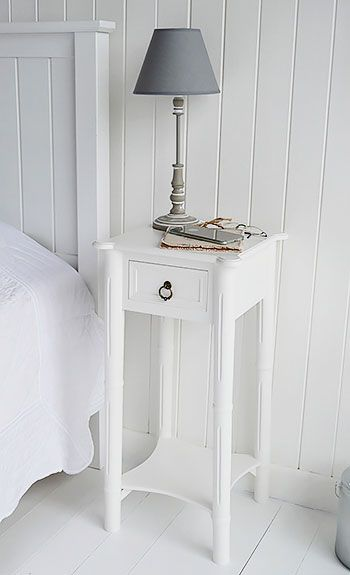 New England Narrow White Bedside Table White Bedside Table Small White Bedrooms Skinny Bedside Table