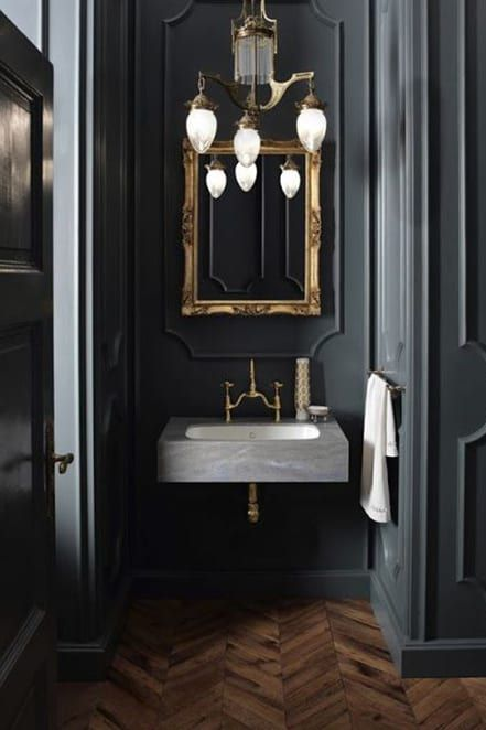 Paint Your Walls Trim Even Your Ceiling The Same Color Seriously Black Powder Room Dark Bathrooms Green Bathroom