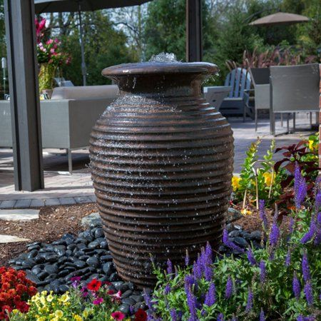 Aquascape 78242 Lightweight Rippled Urn Medium Walmart Com Landscaping With Fountains Water Fountains Outdoor Fountains Outdoor