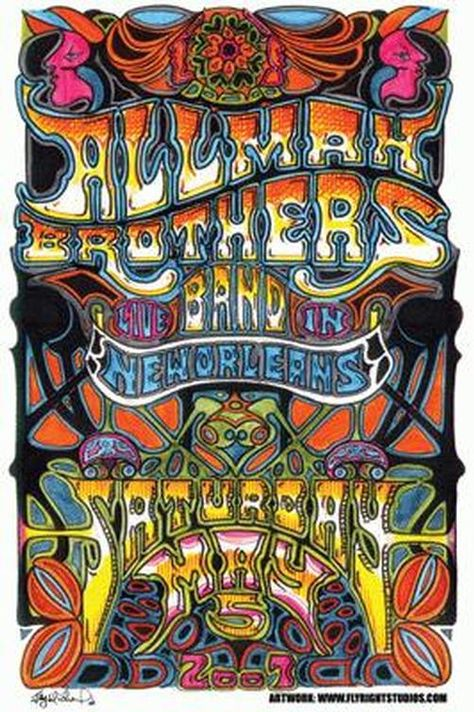Concert poster for the Allman Brothers Band live at the New Orleans Jazz Festival in 2007. 11 x 17 inches on card stock paper. Art by Jay Michael