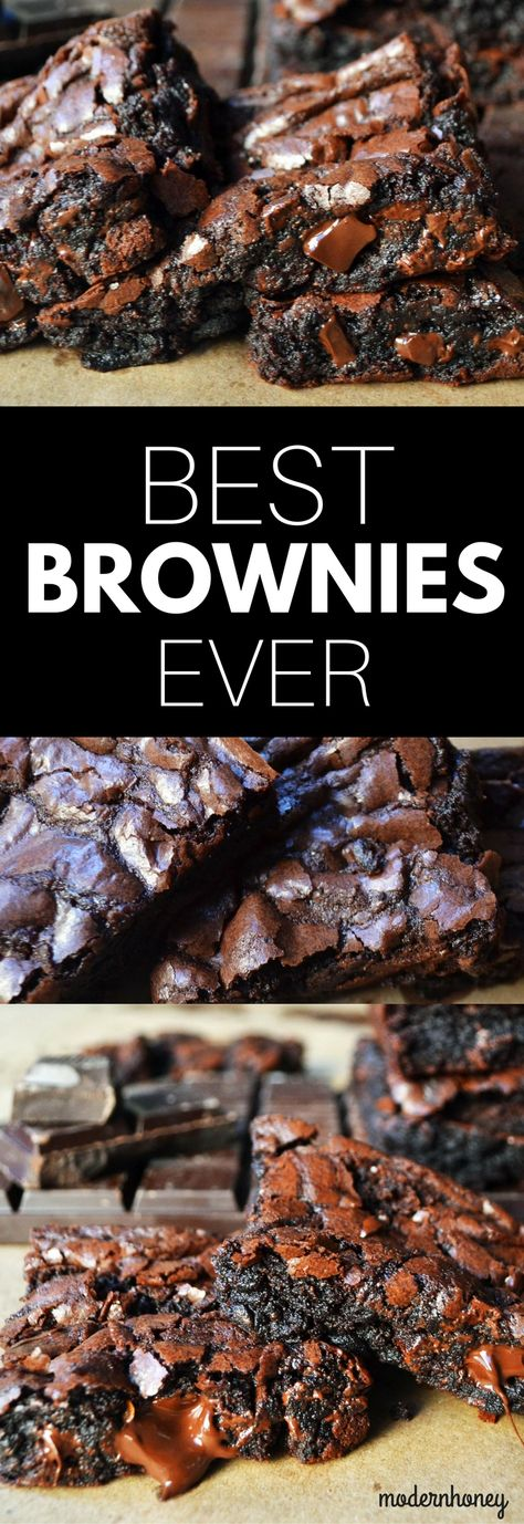 The BEST chocolate brownie recipe. Made from scratch and way better than a boxed brownie mix. Can be made in one bowl in less than 5 minutes. One of the most popular recipes on Modern Honey. www.modernhoney.com