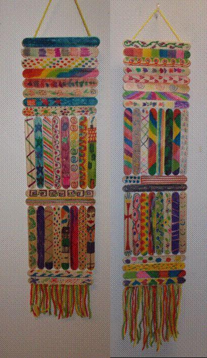 Illustrate elements of art on wood sticks.