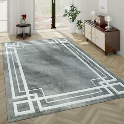 Silver Grey Rug White Border Pattern Room Mat Hall Runner Carpet Small Large Xl Ebay In 2020 Gray Rug Living Room Silver Grey Rug Rugs In Living Room
