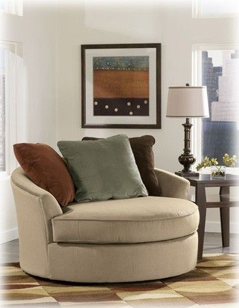 Ashley Laken Mocha 7070421 Oversized Round Swivel Chair Living Room Chairs Furniture Round Swivel Chair