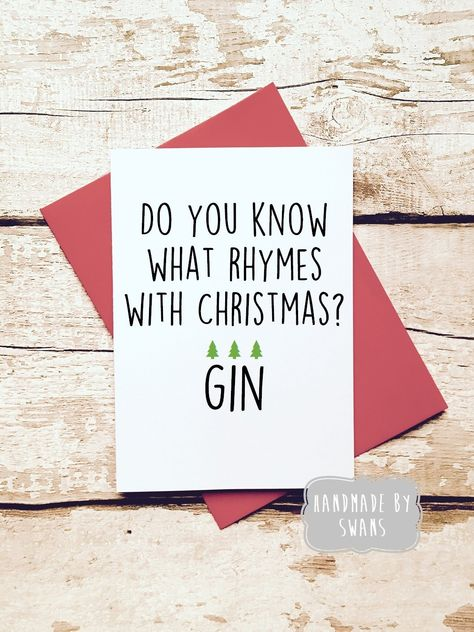 funny christmas card for friend gin lover funny card boyfriend girlfriend husband wife pack of cards multipack humourous card by handmadebyswans on - Christmas Card For Girlfriend