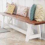 People ask me all the time what my favorite project Ive done is Ive got a lot of favorites but for  with of lumber and an afternoon you cant beat this darling farmhouse bench It was the first thing I built all by myself and it hasnt fallen apart yet so thats a plusI built this with homedepot Find the details on my blog by googling thecreativemom farmhouse benchanawhite shantychic farmhouse buildlikeagirl homedepot diyhalloffame woodworking woodworker carpentry diy diyblogger pretty bench
