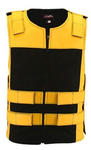 Leather & Cordura Combo Zippered Bulletproof Vest. Yellow / Black