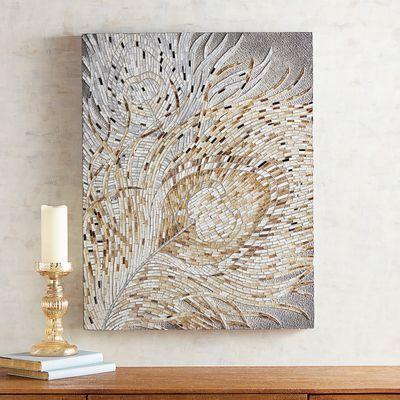 Mosaic Golden Feathers Wall Panel Cuadros Pintados Arte En Vidrio Cuadros