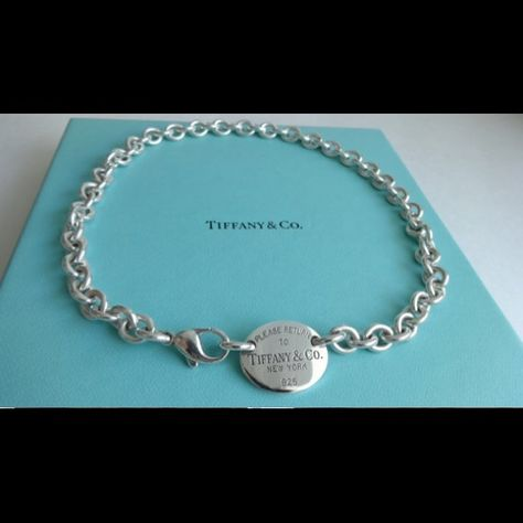 31f30afdd Please Return to Tiffany Oval Tag Chain Necklace Authentic Tiffany and Co.  Sterling Silver Please