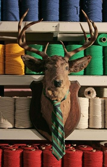 A Preppy's Use of a Deer Head #Preppy! Ciarla are you seeing this!!!! Love the tie!