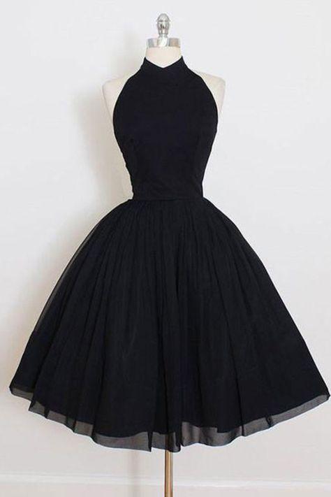 Black Prom Dresses, Short Prom Dresses, 2018 Custom Made Chiffon Prom Dress,Halter Backless Black Homecoming Dress,Short Party Dress homecoming dresses