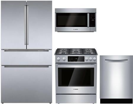 4 Piece Kitchen Appliances Package With B36cl80ens 36 French Door Refrigerator Hdi8056u 30 In 2020 Kitchen Appliance Packages Integrated Dishwasher French Door Refrigerator