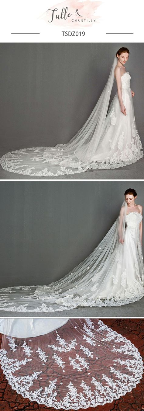 Wedding Chapel Veil with Lace Dragging Behind The Bride Alencon Lace Bottom Wedding Veil #wedding #weddinginspiration #bridalfashion #bridalveil #weddingveils #bridalparty #weddingideas #weddingcolors #tulleandchantilly