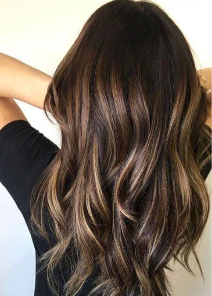 Subtle Blond Bayalage Highlights On Dark Brunette Base Long Layers Brown Blonde Hair Brunette Hair Color Balayage Hair