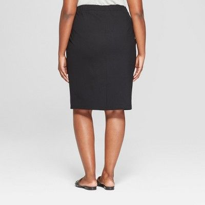 clearance choose latest best selection of 2019 Women's Plus Size Ponte Midi Pencil Skirt - Ava & Viv Black ...
