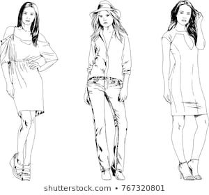 Female Drawings Of Girls Full Body With Clothes