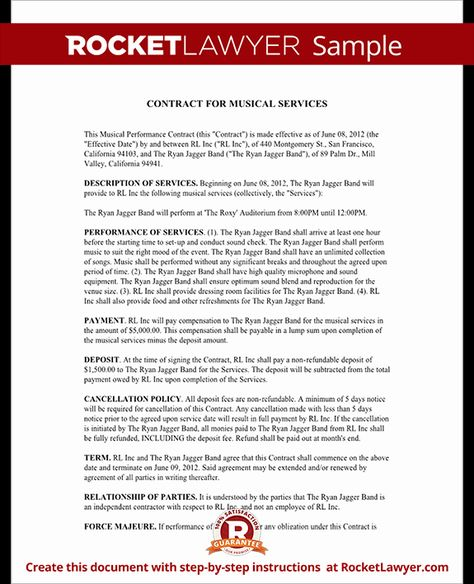 Music Performance Contract Template New Music Performance Contract