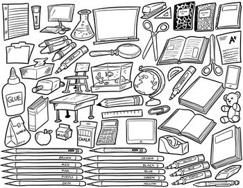 School Supplies Clip Art Black And White 60 Items For