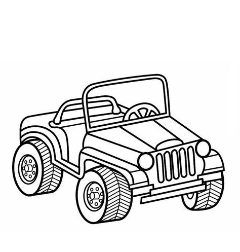 Jungle Jeep Coloring Page Design