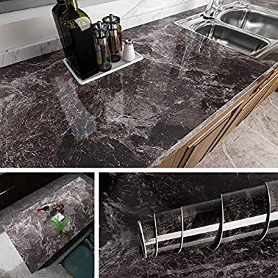 Livelynine Dark Marble Wall Paper For Counter Top Covers Peel And