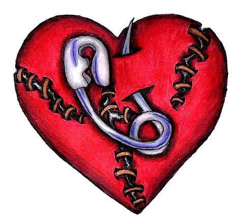 Safty Pin Stitch Heart Tattoo Design by emjaybrady on DeviantArt - #design #deviantART #emjaybrady #heart #Pin #Safty #stitch #Tattoo