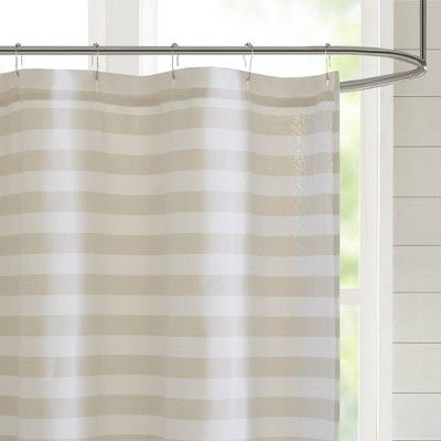 72 X72 Colette Yarn Dyed Woven Shower Curtain Taupe Adult Unisex