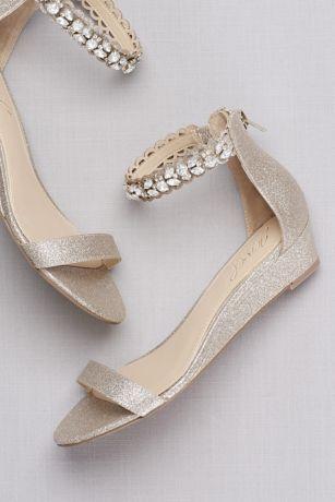 Glittery Low Wedge Sandals With Jeweled Ankle David S Bridal Brautschuhe Hochzeitsschuhe Hochzeit Schuhe Keilabsatz