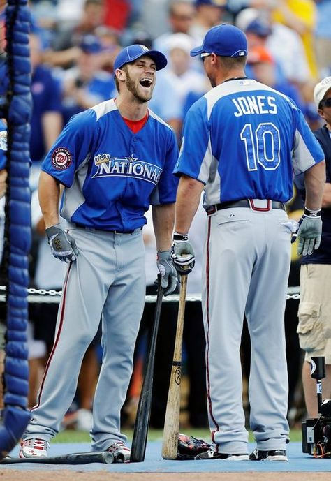 Bryce Harper sharing an All Star laugh with Chipper Jones.