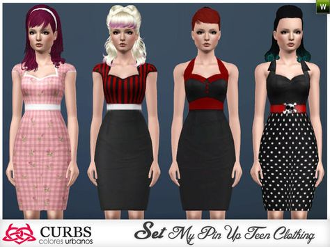four styles of dresses pin up in 3 recolores. Found in TSR Category 'Sims 3 Female Clothing Sets'
