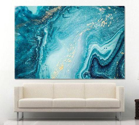Blue Ocean Abstract Print Printable Wall Art Sea Wall Art Ocean