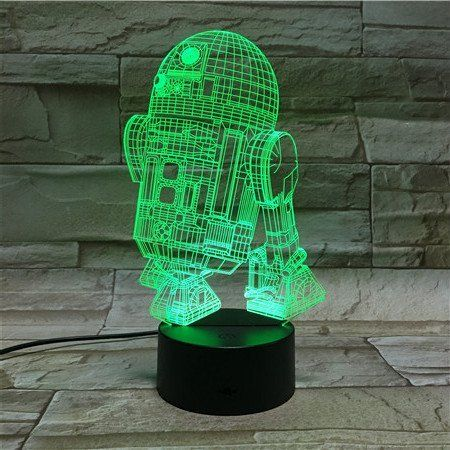 3d Night Light R2d2 Star Wars 7 Led Light Colors Optical Illusion Night Light Made From Flat Acrylic Plate 3d Led Night Light Night Light Lamp Novelty Lights