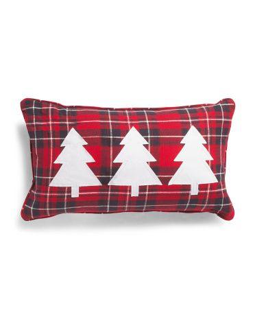 14x24 Three Trees Applique Plaid Pillow Pillows Throw Pillows