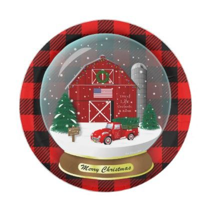 Little Red Truck Christmas Tree Farm Snow Globe Pl Paper Plate Zazzle Com Christmas Tree Farm Red Truck Christmas Party Supplies